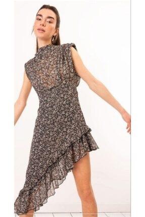 Bsl Kadın Siyah Şifon Elbise