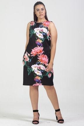 Şans Kadın Siyah Sırt Dekolte Çiçek Desenli Elbise 65N24104