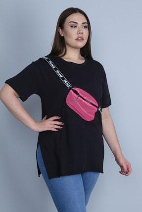 Şans Kadın Siyah Ön Detaylı Yan Yırtmaçlı Bluz 65N24083