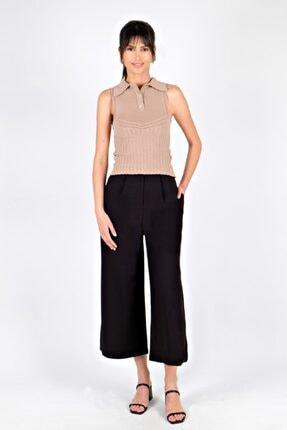 Spazio Kadın Siyah Yırtmaç Detaylı Pantolon
