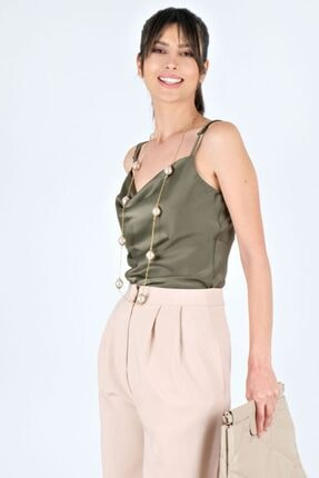 Spazio Kadın Haki Askılı Degaje Yaka Saten Bluz
