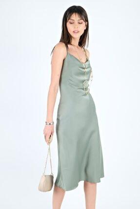Spazio Kadın İp Askılı Saten Elbise