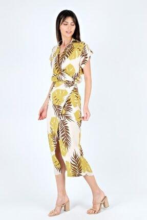 Spazio Kadın Hardal Abbass Desenli Elbise