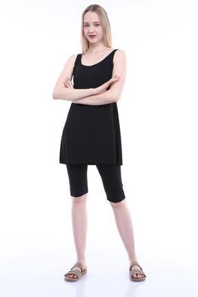 Armes Kadın Siyah Büyük Beden Düz Taytlı Elbise Mayo