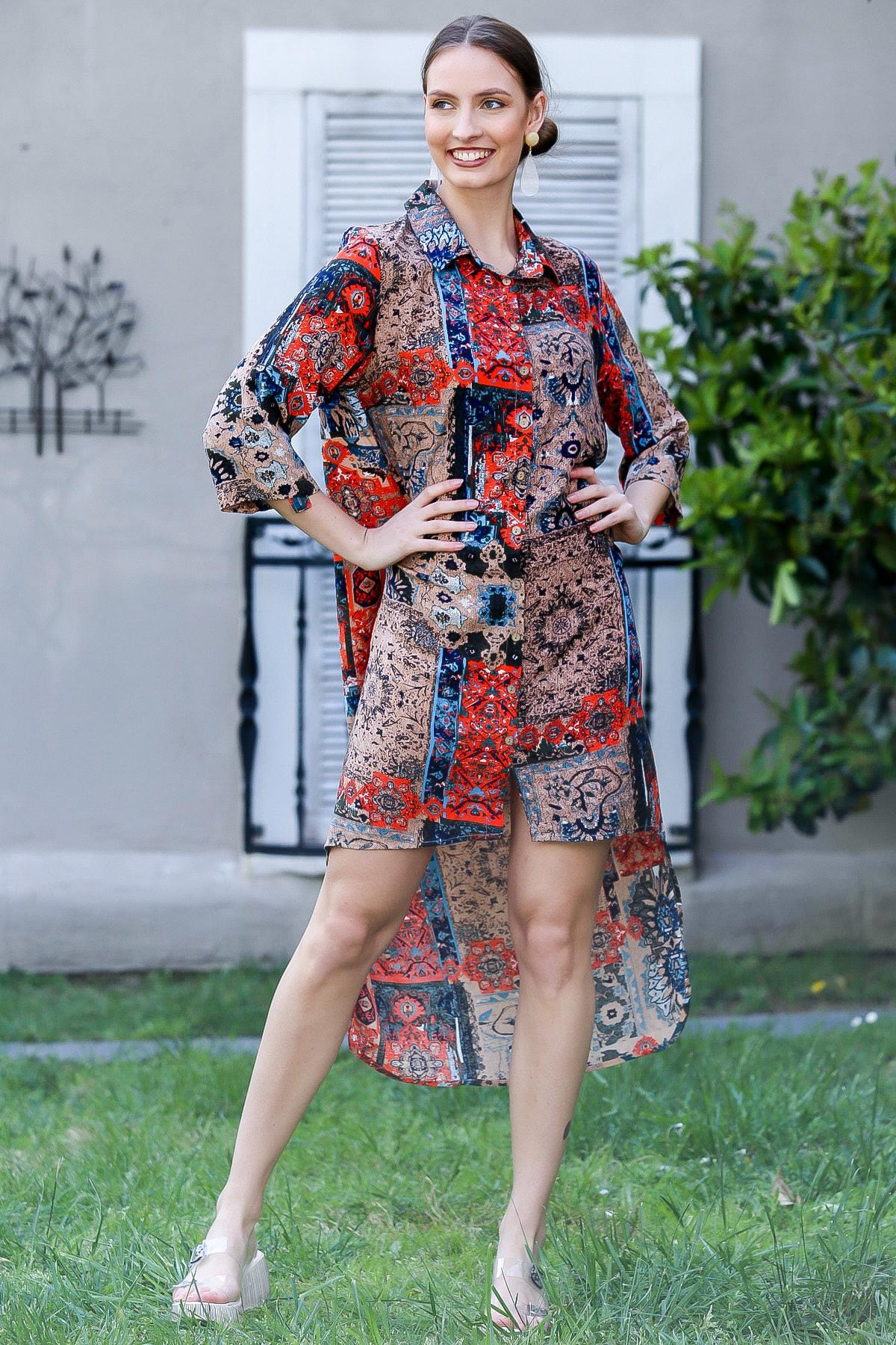 Chiccy Kadın Açık Kahve Gömlek Yakalı Şal Desenli Düğmeli Önü Kısa Arkası Uzun Elbise M10160000EL94925