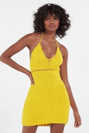 Bershka Kadın Sarı Kroşe Halter Yaka Elbise