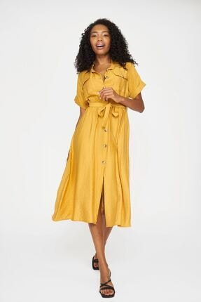 Batik Kadın Hardal Düz Casual Elbise Kol Y42820 Dkm