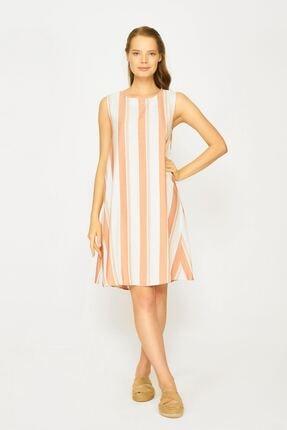 Batik Kadın Turuncu Çizgili Casual Elbise