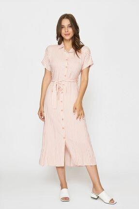 Batik Kadın Pembe Çizgili Casual Elbise