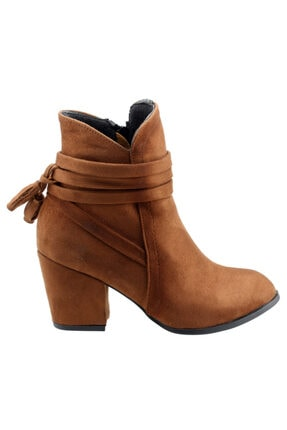 Ayakland Kadın Taba Günlük 6 cm Topuk Süet Bot Ayakkabı 1111-832