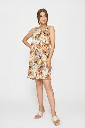 Batik Kadın Kahverengi Desenlı Casual Elbıse