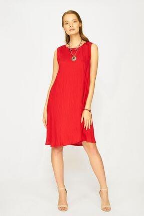 Batik Kadın Kırmızı Düz Casual Kısa Kol Elbıse Y42738 Dkm