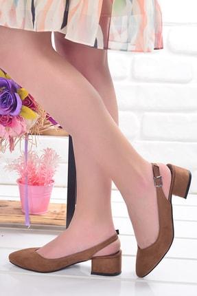 Ayakland Kadın Taba Süet 3 cm Topuk Sandalet 510-74