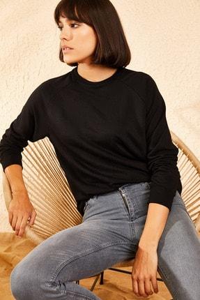 Bianco Lucci Kadın Siyah Basic Sweatshirt 10111042