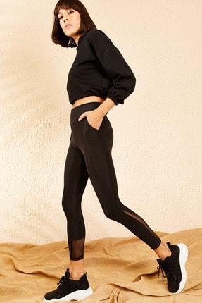 Bianco Lucci Kadın Siyah Uzun Kemerli Cep Detay Tüllü Yüksek Bel Parlak Disco Tayt 10111017