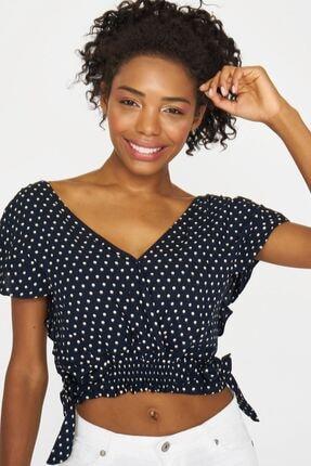 Batik Kadın Lacivert Puantiyelı Casual Bluz Y42704