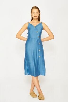 Batik Kadın Mavi Dkm Duz Casual Kkol Elbıse Y42690