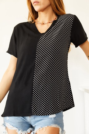 Xhan Kadın Siyah V Yaka Bluz