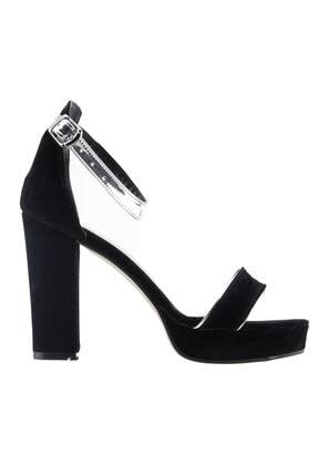 Ayakland Kadın Siyah Günlük 10 cm Topuk Süet Klasik Ayakkabı 1605-1166