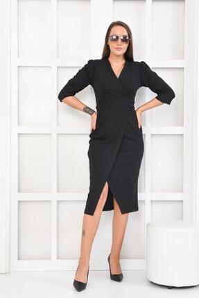 İroni Kadın Siyah Kruvaze Yırtmaçlı Örme Elbise