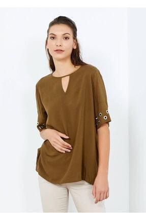 Cazador Kadın Haki Kısa Kol Düz Hakı S Bluz