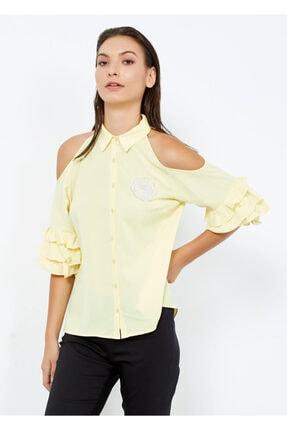 Cazador Kadın Sarı Uzun Kol Düğmeli Gömlek S38
