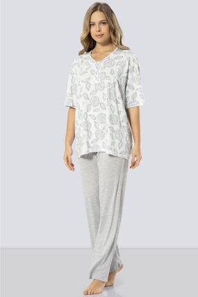 TÜREN Kadın Mavi Büyük Beden Çiçek Desenli Kısa Kollu Pijama Takımı 3321