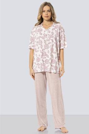 TÜREN Kadın Pudra Büyük Beden Çiçek Desenli Kısa Kollu Pijama Takımı 3321
