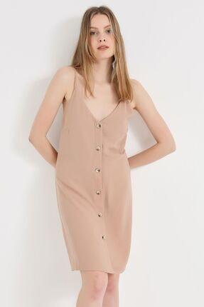 Home Store Kadın Pudra Düğme Detay Elbise