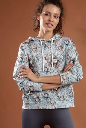 Y-London Kadın Çiçekli Boyfriend Kapşonlu Sweatshirt Y20w126-10716