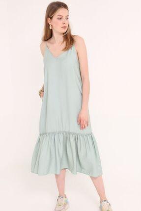 Home Store Kadın Yeşil İp Askılı Elbise
