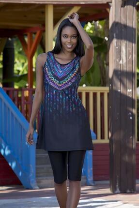 Armes Kadın Siyah Likra Kolsuz Tesettür Mayo Arms20s-413