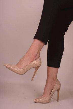 Kadın Altın Rengi Klasik Topuklu Ayakkabı SC011845