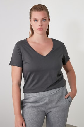 TrendyolMilla Antrasit %100 Pamuk V Yaka Basic Örme T-Shirt TWOSS20TS0129