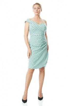 Keikei Kadın Su Yeşili Büyük Beden Krep Kısa Kol Kısa Elbise
