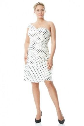 Keikei Kadın Beyaz Büyük Beden Krep Kısa Kol Kısa Elbise