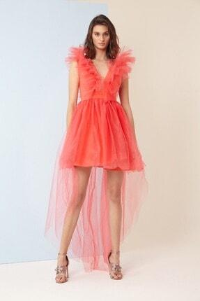 Keikei Kadın Orange Tül Kolsuz Kısa Elbise