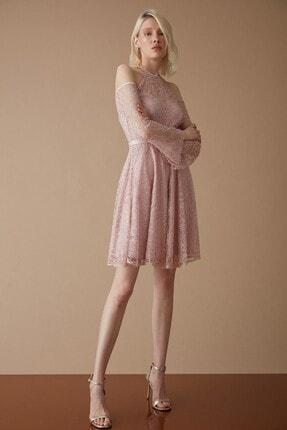 Keikei Kadın Pudra Dantel Kolsuz Kısa Elbise