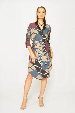 Batik Kadın Haki Desenli Elbise