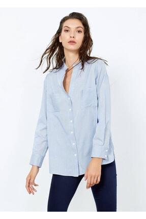 Cazador Kadın Mavi Çizgili Cepli Gömlek