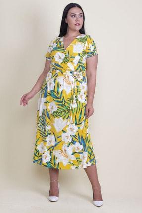 Şans Kadın Renkli Batik Desen Kısa Kollu Elbise 65N17929