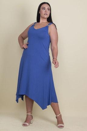 Şans Kadın Saks Askılı Toka Aksesuarlı Elbise 65N17877