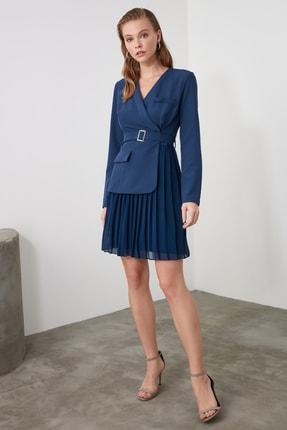 TrendyolMilla Petrol Kemerli Pilise Detaylı Elbise TWOAW21EL0404