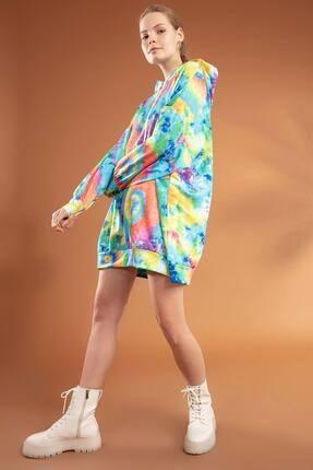 Y-London Kadın Turuncu Mavi Batik Desenli Kapşonlu Oversize Elbise Sweatshirt Y20W110-4125-9