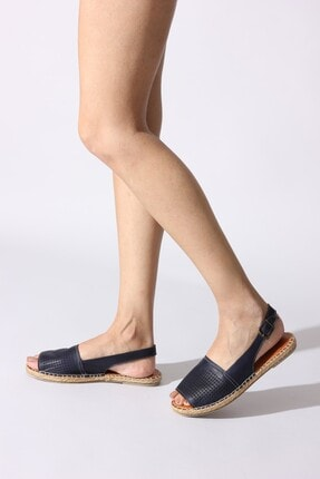 Rovigo Hakiki Deri Lacivert Kadın Sandalet 6971647-02