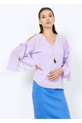 Cazador Kadın Lila V Yaka Omuz Detaylı Bluz