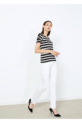 Cazador Kadın Siyah Çizgili Kol Detaylı Triko Bluz