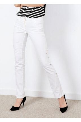 Cazador Kadın Beyaz Yan Detaylı Jean Pantalon