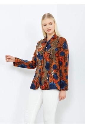 Cazador Kadın Vizon Desenli Düğmeli Ceket