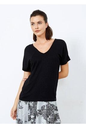 Cazador Kadın Siyah V Yaka Basic Tişört